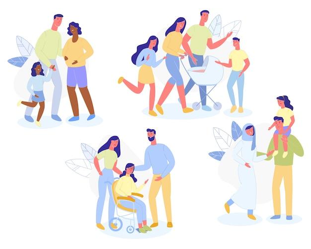 Многорасовый семейный характер прогулка родителей и детей
