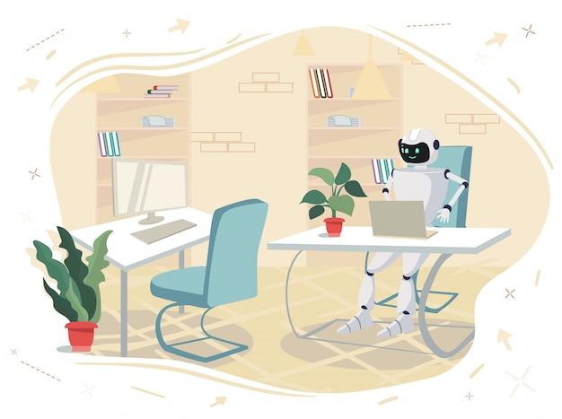 ロボットはオフィスのコンピューターの前のテーブルに座っています。