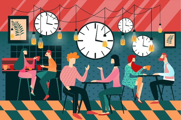 Мультяшный мужчина и женщина, быстрое знакомство в кафе
