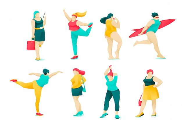 ポスターセットアクションとキャラクター肥満女性フラット