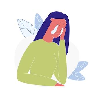 動揺泣いている女性漫画のベクトルイラスト