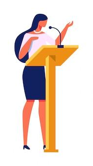 美しい女性が表彰台の近くに講義スタンドを与える