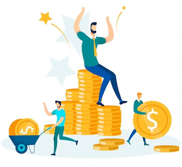 お金を稼ぐ、貯蓄する、投資するビジネスマン