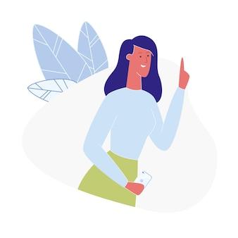 Молодая женщина, имеющая идею плоской иллюстрации