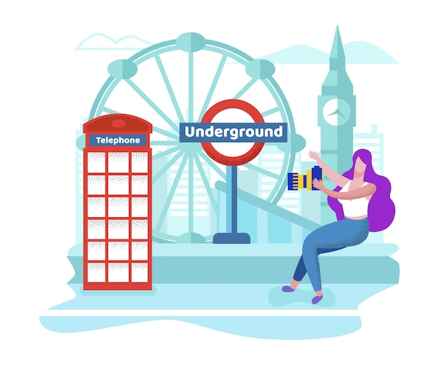 イギリスを旅行する女の子ロンドンを見る場所を表示する