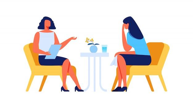 泣いている女性と白い背景の上の心理学者。