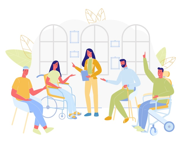 Группа инвалидов, сидящих с женщиной-врачом.