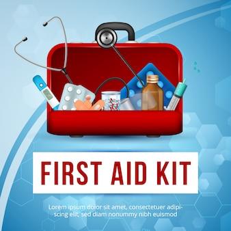 付属品が付いている救急箱の正方形の医者袋、