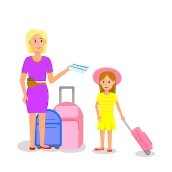 Женщина в розовом платье с девушкой стоит возле багажа