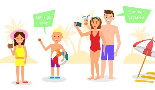 幸せな家族はリゾートで休憩します。両親と子供