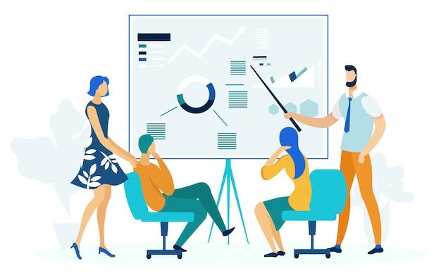 Годовой бизнес отчет плоский векторная иллюстрация