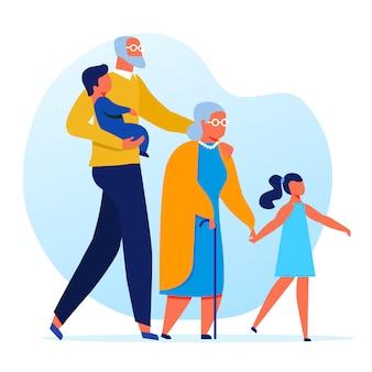 Пожилые люди с внуками плоский векторная иллюстрация