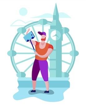 Турист, путешествующий по лондону, снимающий знаменитые места