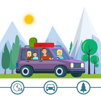 家族旅行。父、母と子供たちが旅行する