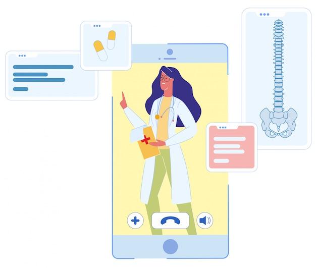 Женщина-врач на консультации по экрану мобильного телефона