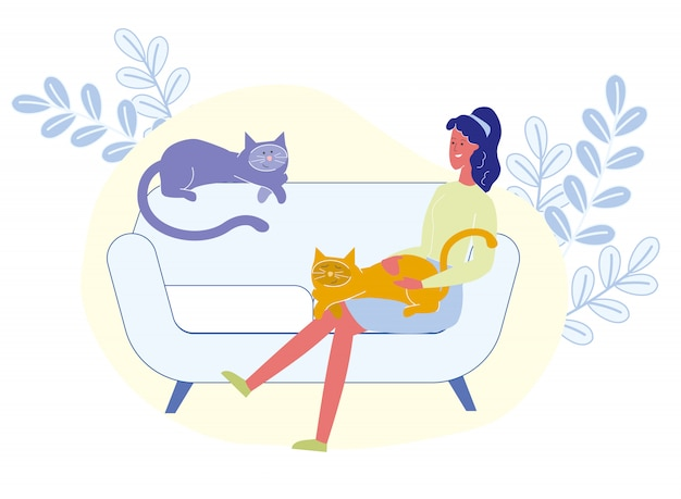 膝のベクトル図に猫を持つ女性