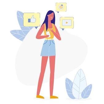 Пользователь социальных медиа на телефон векторные иллюстрации