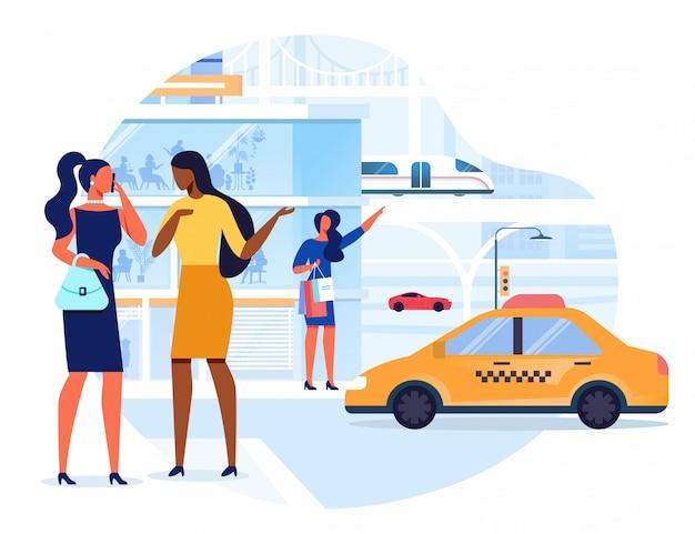 Современный городской транспорт векторные иллюстрации