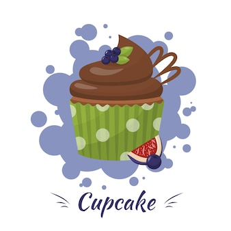 イチジク広告とブルーベリーチョコレート艶をかけられたカップケーキ