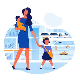 Мать берет ребенка в школу