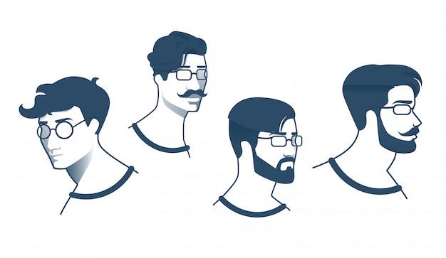 メガネ漫画を持つ男のためのポスターセットのヘアスタイル。