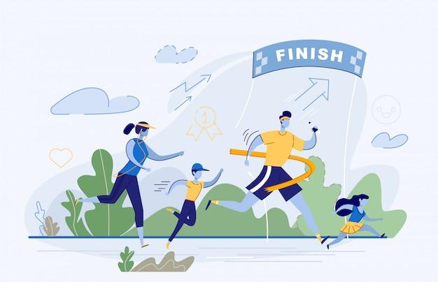 Счастливая семья принимает участие в соревнованиях по бегу