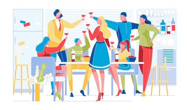Группа молодых людей празднует на домашней вечеринке