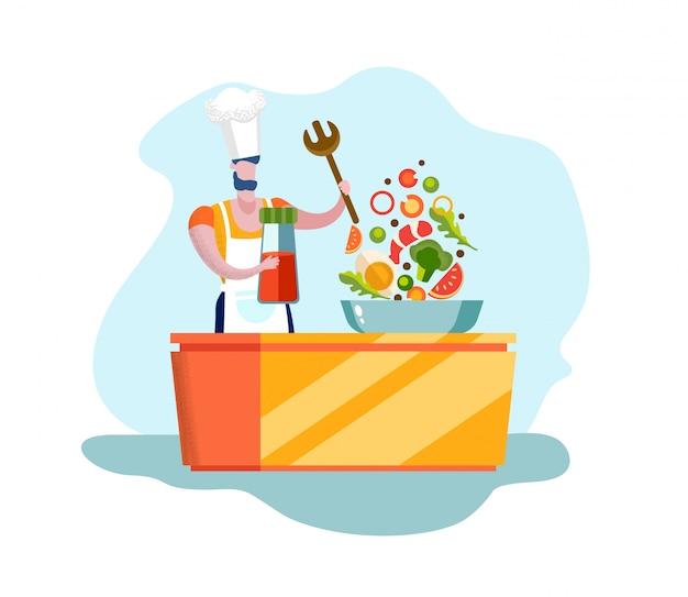 健康的な有機食品を調理する男性シェフのキャラクター