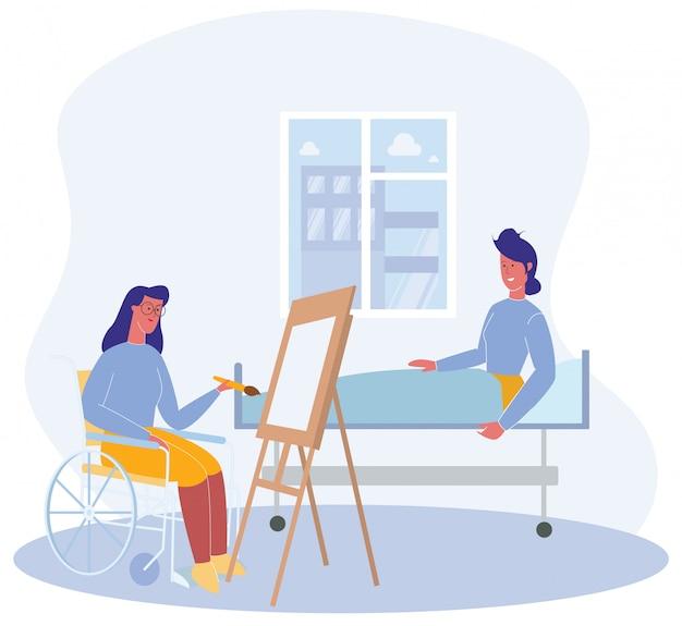 車椅子の女性患者の肖像画を描く女性