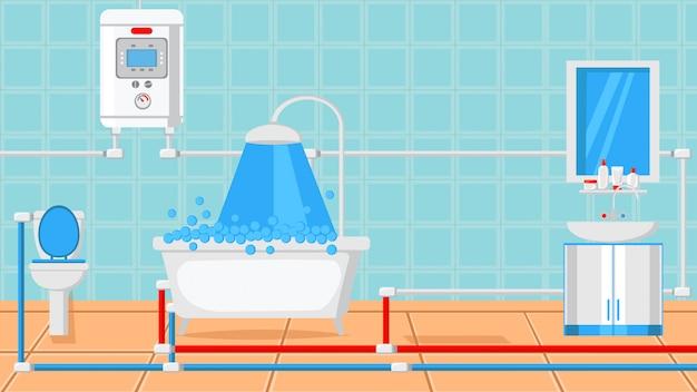 Ванная комната дизайн плоский векторные иллюстрации.