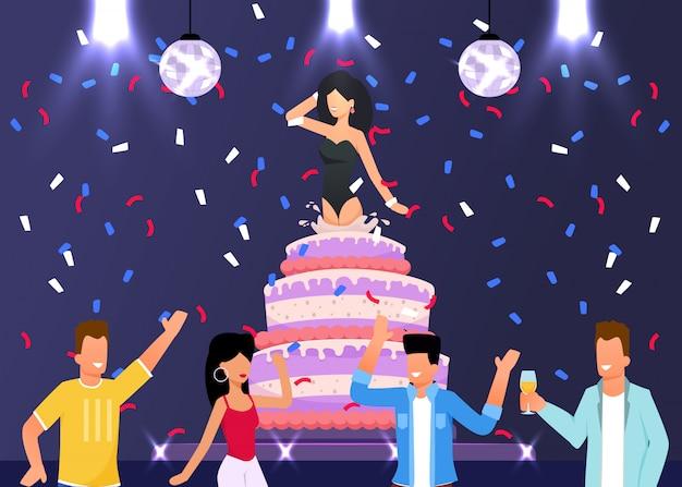 友達がケーキから飛び出した少女と驚きを作る