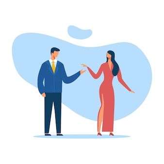 男と女のエレガントな服のカットアウト漫画