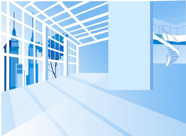 Современная квартира в помещении, музей современного искусства