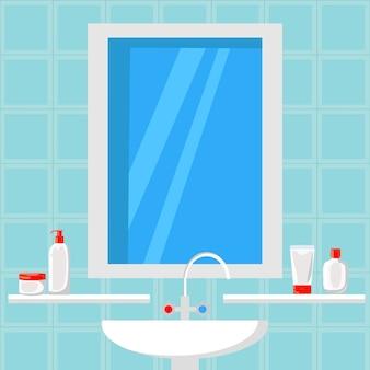 Ванная комната дизайн плоский векторные иллюстрации. баннер