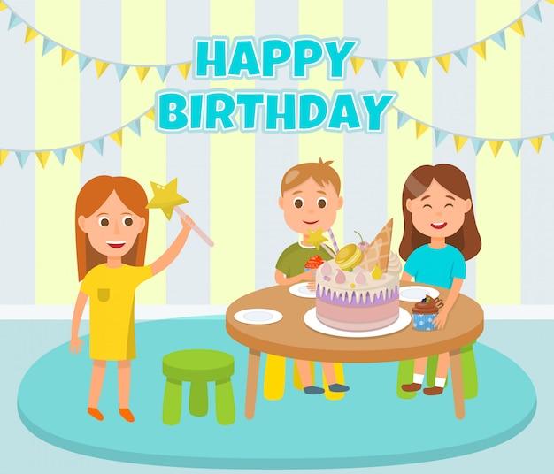 幸せな子供たちの誕生日パーティーのお祝い漫画