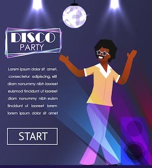 Чернокожий мужчина в ретро-одежде наслаждается дискотекой