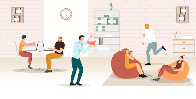 明るいバナーオフィス時間管理漫画。