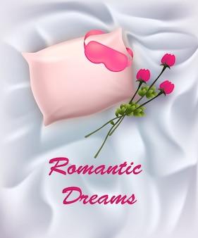 目隠しとバラの花の花束と枕