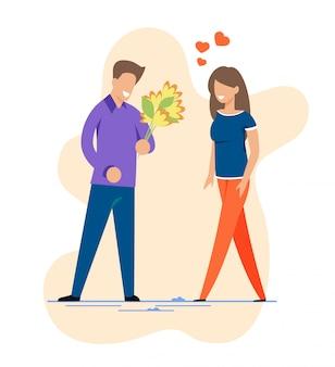 最初のロマンチックなデートの切り欠きに幸せな男と女