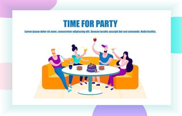 お祝い、パーティーを持っている若者の会社
