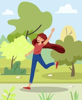 明るいバナーガールは公園で実行され、フラットを笑います。