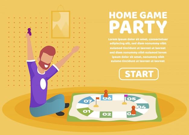 広告ポスターホームゲームパーティーレタリング。