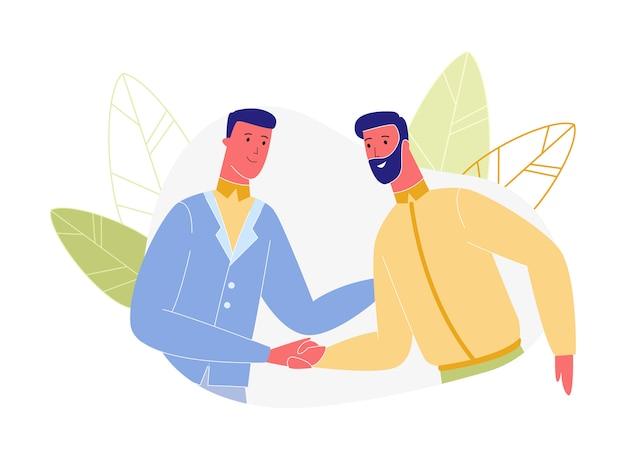 Деловые люди персонажи рукопожатие изолированные