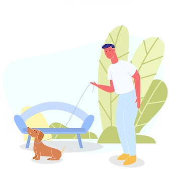 緑豊かな公園で幸せな笑みを浮かべてベクトル男歩く犬
