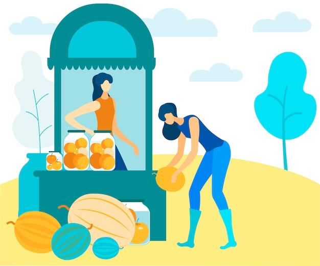 女性は市場のベクトルで缶詰と新鮮な果物を売る