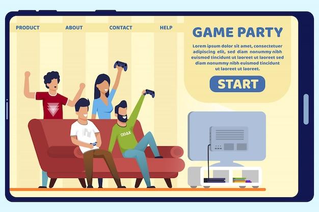 広告ポスター碑文ゲームパーティースライド。