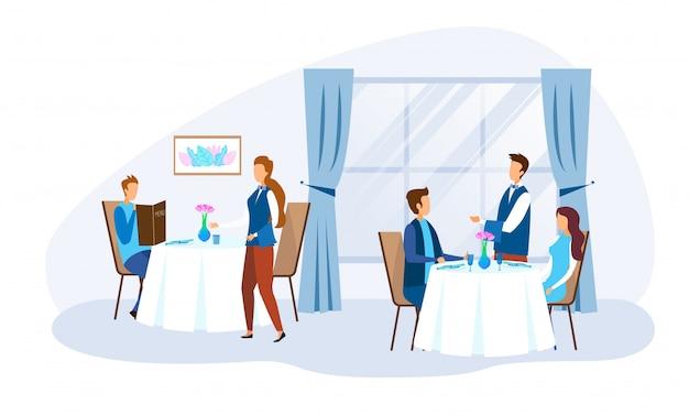 人のキャラクターとレストランのスタッフを食べる