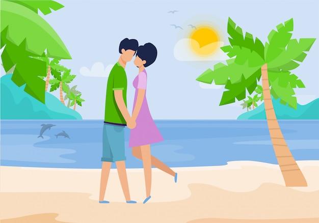熱帯のビーチでロマンチックなデートに愛のカップル