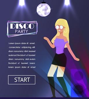 かなり金髪の女性のダンスとディスコパーティーバナー