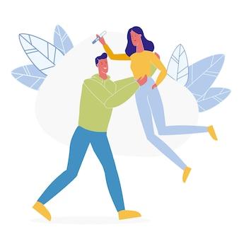 Счастливые будущие родители плоский векторная иллюстрация